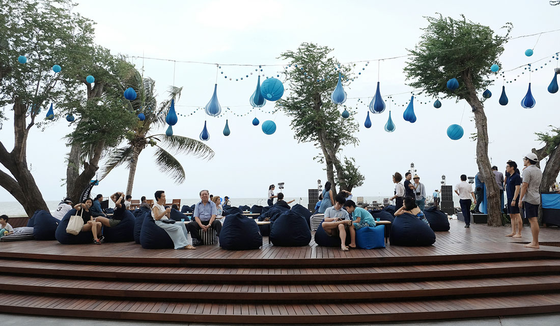 The sky beachfront deck meeting and wedding