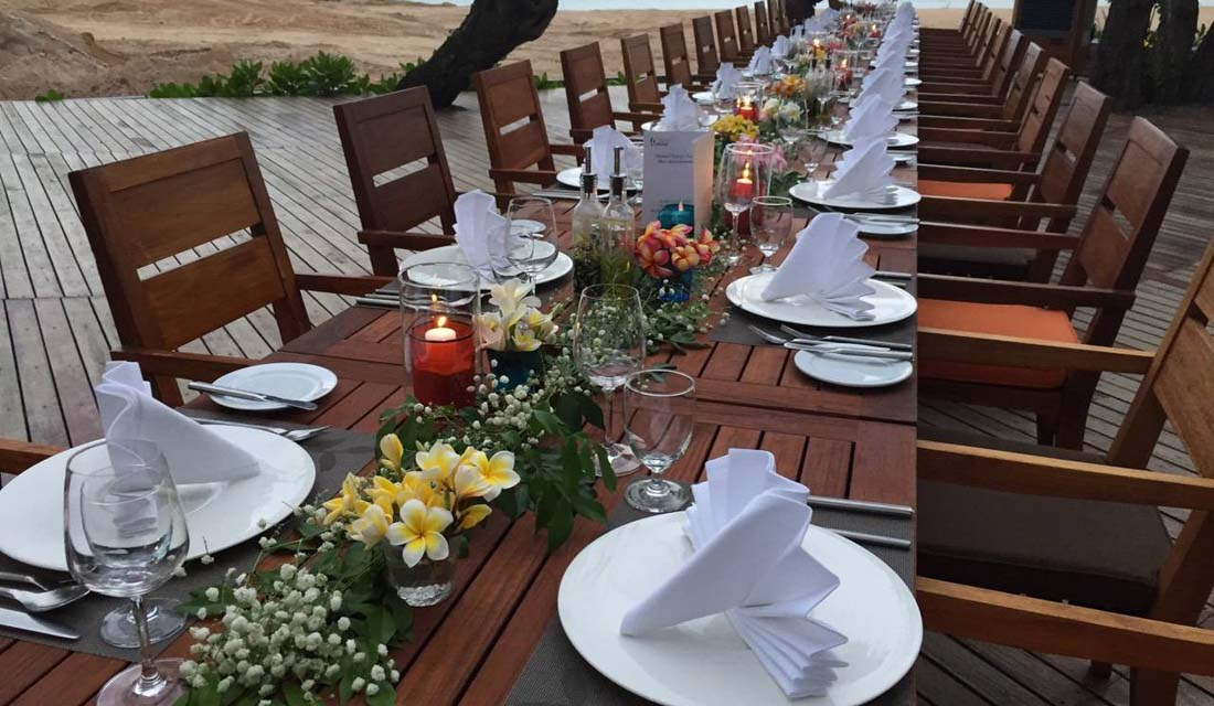 The sky beachfront deck outdoor table